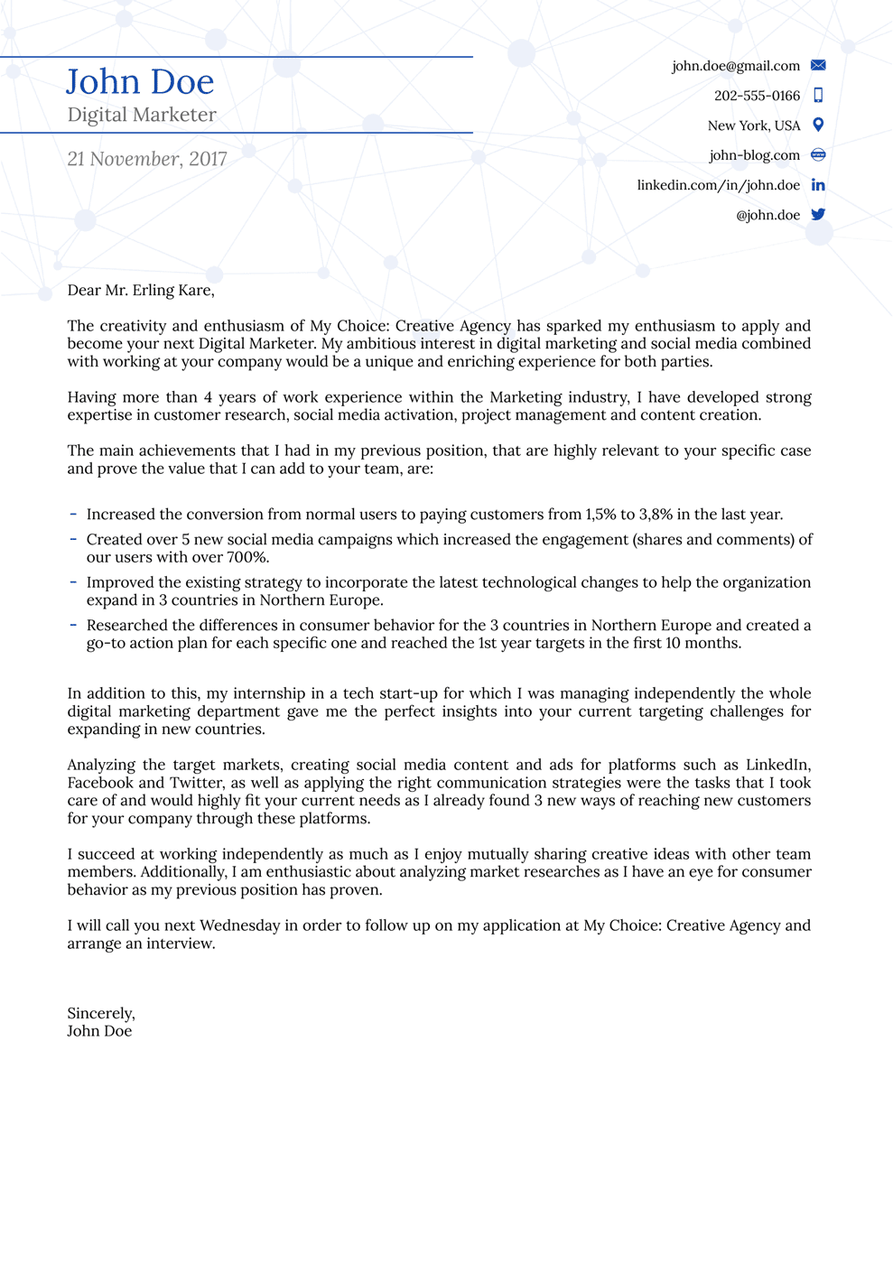 College Cover Letter Template