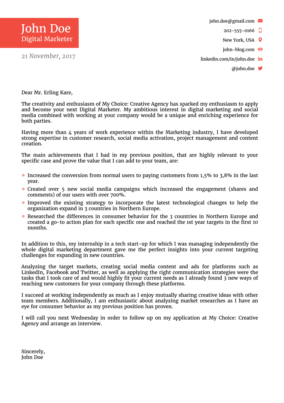 Functional Cover Letter Template