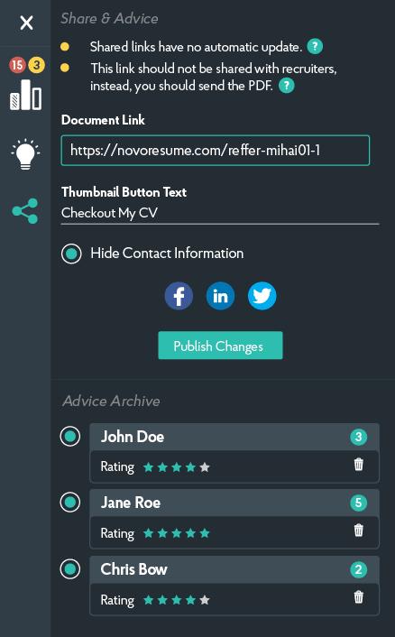 novoresume share advice panel